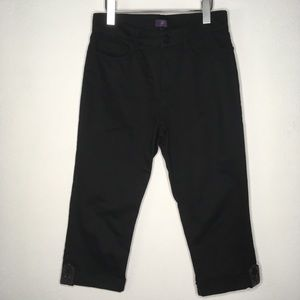 NYDJ Black Cuffed Crop Lift & Tuck Jeans Size 4